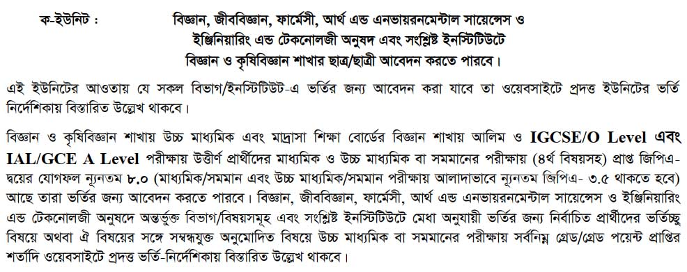 Dhaka Unviersity Admission 23019