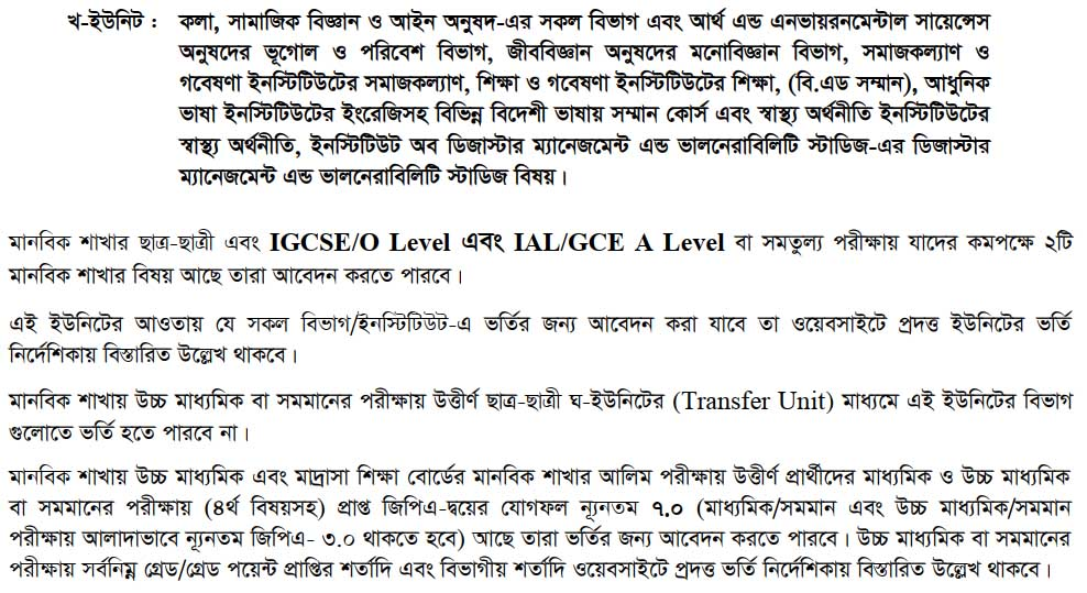 Dhaka university admission 2019