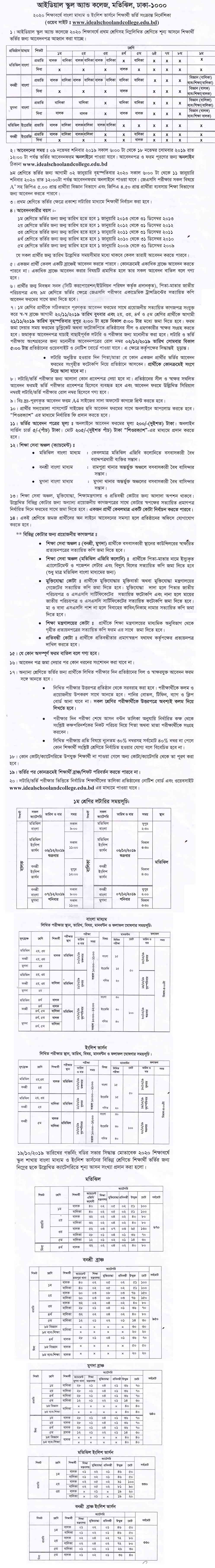 Ideal school college admission circular-2020