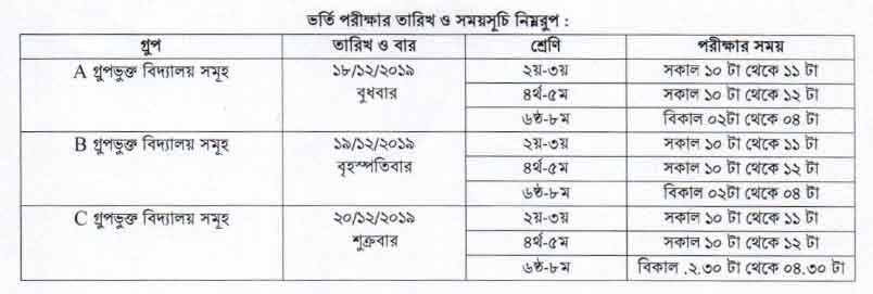 govt. school admission date & time