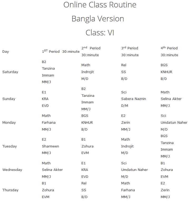 vnsc class Six online class routine