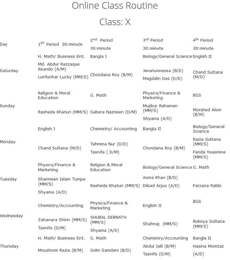 vnsc class ten online class routine