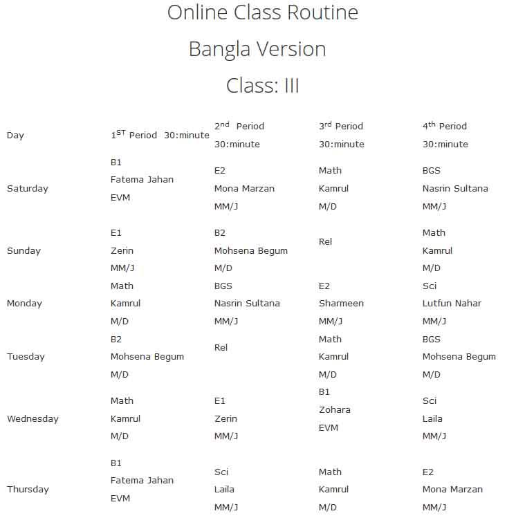 vnsc class Three online class routine