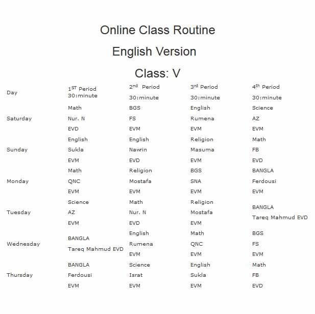 class 5 english version online class routine