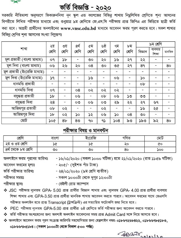 vnsc class two to nine admission