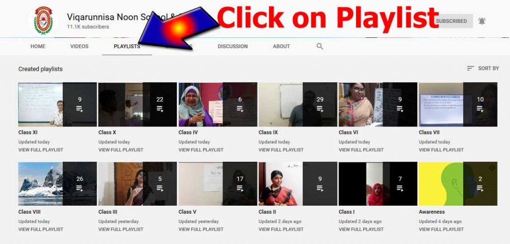 vnsc you tube chanel online class playlist