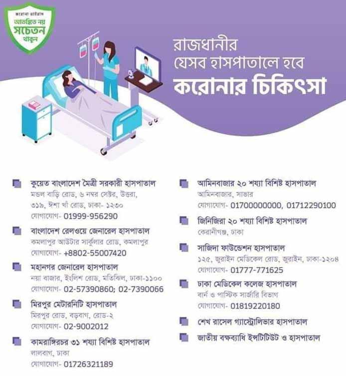 corona virus health center in bd