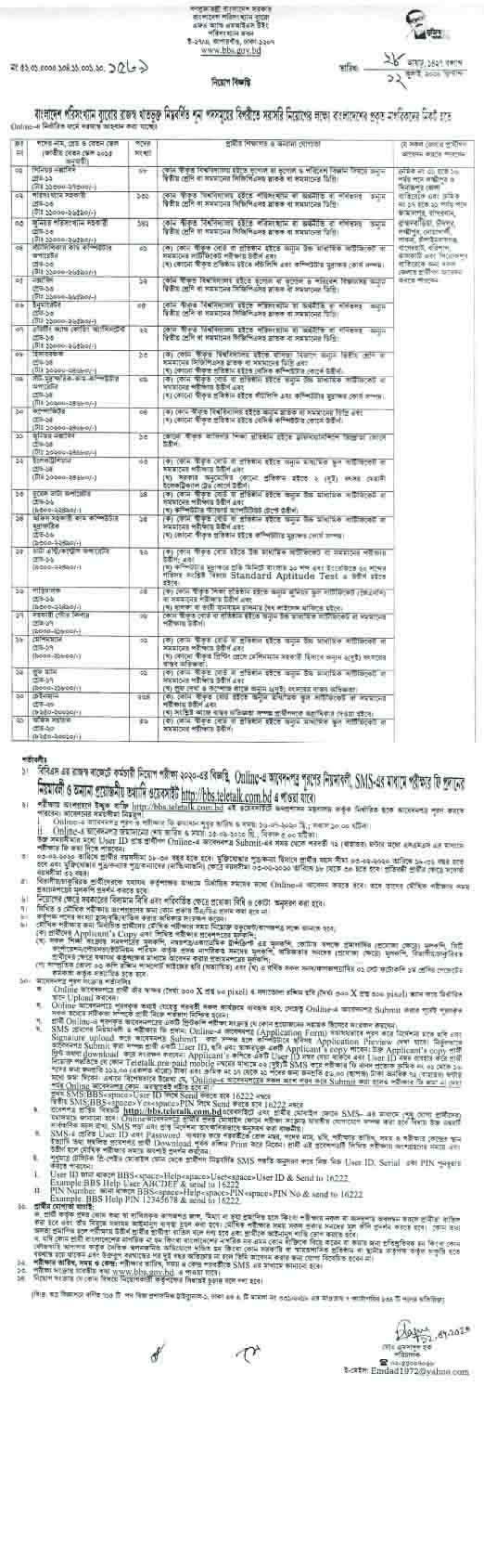 bangladesh bureau of statistic bbs govt job circular 2020